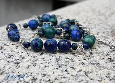 Deep- náhrdelník z azurit/malachitu / Zboží prodejce KalamityM Turquoise Bracelet, Beaded Bracelets, Jewelry, Malachite, Jewlery, Jewerly, Pearl Bracelets, Schmuck, Jewels