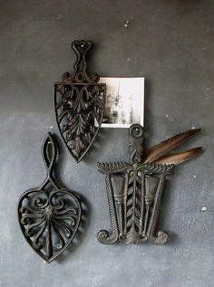 3 vintage cast iron trivets