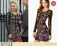 Carrie's geometric/diamond printed mesh bodycon dress on The Carrie Diaries – Season 2 Preview!. Outfit Details: http://wornontv.net/18638