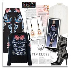 """""""Silver White Drop Earrings"""" by timelesspearl ❤ liked on Polyvore featuring Temperley London, Yves Saint Laurent and Edie Parker"""