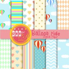 Hot air balloon digital paper 12 balloon backgrounds by GemmedSnail on Etsy, $4.80