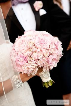 Pink Hydrangea and Peonies Bouquet w/ Crystal Brooch Detail