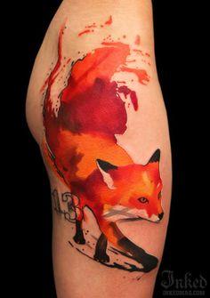 Artsy fox tattoo by Ivana Belakova