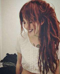 Here they go, my dreadlocks. I do really believe they are more than just another one hairstyle and Dreadlock Styles, Dreads Styles, Dreadlocks Girl, Hippie Dreads, Partial Dreads, Beautiful Dreadlocks, Dreadlock Hairstyles, Dream Hair, Ginger Hair