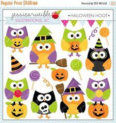 ON SALE Halloween Hoot Cute Digital Clipart by JWIllustrations