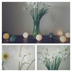 • www.facebook.com/wloczy.sie •  Handmade cotton ball lights/ spring/ Home decor