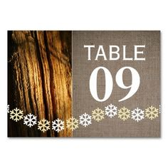 Rustic Snowflakes Christmas Table Number Cards