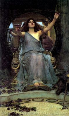 John William Waterhouse (English Pre-Raphaelite painter) 1849-1917. Circe Offering the Cup to Ulysses, 1891
