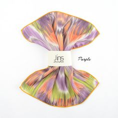Brush stroke pattern silk handkerchief. orange silk pocket square, pattern silk handkerchief, pocket square for men, mens handkerchief, purple silk pocket square,