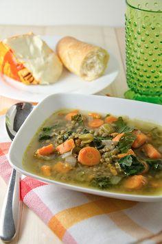 Kale, Sweet Potato, Lentil Soup {Recipe}