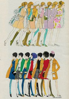"""justseventeen: """"October 'Your best fashion colors: Know them, use them well, and their potent magic will be yours. Fashion Illustration Vintage, Retro Illustration, Fashion Illustrations, Mode Inspiration, Fashion Sketches, Fashion History, Art Inspo, Collages, Vintage Art"""