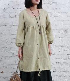 Side Pockets String Hem Linen Shirt-zeniche.com SKU ba0405