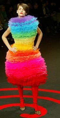 "It's my Rainbow dress!It makes me look so thin~ It is good for when ""That little Black Dress"" won't do~ Crazy Dresses, Ugly Dresses, Ugly Outfits, Crazy Outfits, Dresses Dresses, Gypsy Dresses, Fashion Fail, Weird Fashion, Bad Fashion"