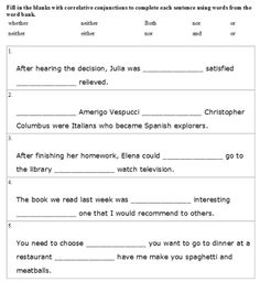 Printables Correlative Conjunctions Worksheet correlative conjunctions practice worksheet worksheets coordinating and subordinating conjunction activities printables and