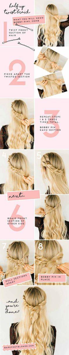 Amazing Half Up-Half Down Hairstyles For Long Hair - Triple Twist Half Up
