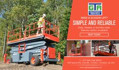 Simple and reliable. An ideal choice for a wide range of construction, maintenance, industrial and even demolition applications. Rent a scissor lift today!, Gta, Ontario, Industrial, Construction, Range, Cabin, House Styles, Simple, Building