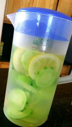 5 Minute Recipe: Lemon/Cucumber Detox Water! Get rid of toxins and cleanse your system with this refreshing drink.