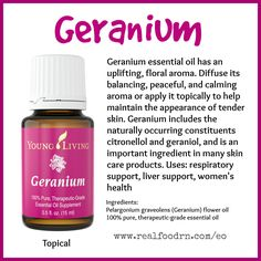 Geranium Essential Oil. Use for respiratory support, liver support and women's health. #geranium #essentialoils