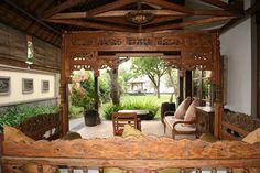 View from the veranda suite terrace into the garden, villa semadhi in bali Pemuteran