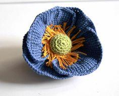 {blue poppy, tunisian crochet}   Brosa (40 LEI la GeoShop.breslo.ro)