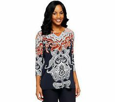Susan Graver Liquid Knit Placement Print Tunic with 3/4 Sleeves