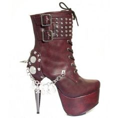 Artemis Burgundy Platform Gothic Womens Boot - New at GothicPlus.com - your source for gothic clothing jewelry shoes boots and home decor. #gothic #fashion #steampunk