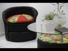 Faça você mesma uma poltrona e cadeira com pneus velhos