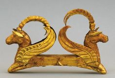 Frontispiece of the Golden Man's headress, showing two winged horses with ibex horns, the mixing of animal forms typical of Scytho-Siberian art. Courtesy of the Nazarbayev Center, Astana