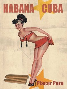 Cuban Cigar Pinup Girl Vintage MAP Havana Cuba Tobacco Print Art Poster - Measures high x Wide high x Wide) Pinup Art, Pub Vintage, Pin Up Girl Vintage, Vintage Cuba, Cigar Art, Pin Up Posters, Good Cigars, Nose Art, Vintage Travel Posters
