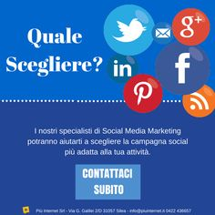 Siamo specializzati nella progettazione di campagne di Social Media Marketing per ogni genere di attività.  I nostri esperti sapranno seguirti passo passo per dare vita alla campagna perfetta per la tua attività. #socialmarketing #social