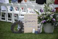 Wedding Details and Decor for a Spring Outdoor Wedding at Crooked Willow Farms Aisle Decor, Hand Lettering, Lavender Wreath Wedding Crafts, Wedding Decorations, Wedding Ideas, Table Decorations, Willows Farm, Lavender Wreath, Wedding 2017, Farms, Wedding Details