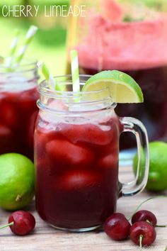 Cherry Limeade - Delicious, refreshing, and so easy to make!  Perfect for summer!