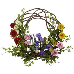 Nearly Natural 22 in. Spring Floral Wreath-4988 - The Home Depot