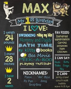 1st Birthday Chalkboards. Where The Wild Things Are Theme Birthday Chalkboard