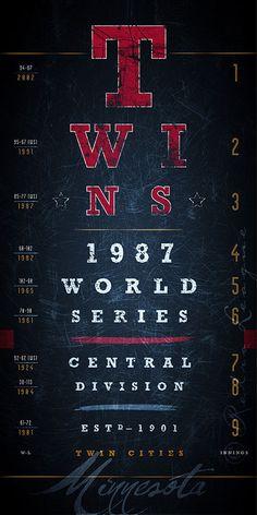 Minnesota Twins: MLB Eye Chart -  Historic Seasons - Midnight Blue - Perfect Valentines, Birthday Gift - Unframed Print