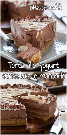 Torta allo yogurt cioccolato e mandorle senza cottura, un dolce fresco, cremoso e con un delizioso retrogusto acidulo! #ricetta #torta #cheesecake #foodblogger #foodphotography #giallozafferano #cucina Decadent Chocolate, Chocolate Desserts, Chocolate Cake, Sweet Recipes, New Recipes, Cake Recipes, Torta Cheesecake, Romanian Food, Sweet And Salty