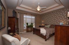 Master Bedroom with Carpet, interior wallpaper, flush light, Ceiling fan, High ceiling