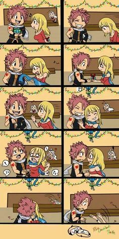 Cute nalu kiss<===mirajane in the back is hilarious