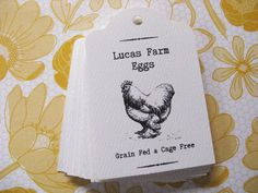 Personalized Tags, Chicken Egg Tags, Vintage Hen Gift Tags, Custom Egg Label for Your Home Raised Chicken Eggs