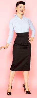 Bottoms - Retro Pants, Skirts & Shorts : Rockabilly Girl by Bernie Style Siren Black Stretch High Waisted Pencil Skirt Work Fashion, Retro Fashion, Vintage Fashion, Fashion Outfits, Vintage Outfits, Retro Outfits, Skirt Outfits, Dress Skirt, Skirt Suit