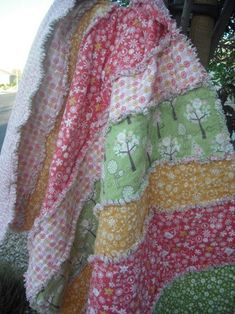 Rag Quilt - Kid Size Flannel Reversible Cuddle-Up Rag Quilt