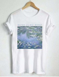 cb7f2b598b8a52 water lilies monet T Shirt Size art t-shirt