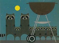 Charley Harper and the Raccoons | The way Harper turns everyday objects into abstract art using simple shapes amazes me..