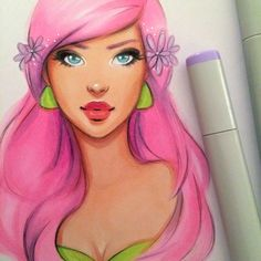 Copic WIP by gabbyd70 Traditional Art / Drawings / People©2015 gabbyd70 #pinkhair #copicmarkers I've been wanting to draw something colorful lately :) Here's a copic marker drawing I've been working on.