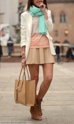 soft & feminine...lace up shoes funk it up a bit <3