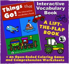 Things that Go! An interactive & adaptive book: Your students will love lifting the flaps to learn about all different kinds of vehicles! This book targets transportation vocabulary, increasing MLU, inferencing, and more! It has two interactive elements to keep your students engaged!(lift-able flaps & picture symbols)! The student will listen to a clue and try to guess which vehicle is in the garage, then they will look in the garage (lift the flap) and see!