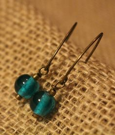 Teal Bead - Angular Wire Earrings by APromisedHope on Etsy