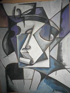 """RUSSIAN AVANT_GARDE GOUACHE PAINTING sig.POPOVA """"PORTRAIT"""" #Cubism"""
