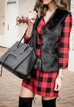 #winter #fashion /  Buffalo Check Dress // Faux Fur Vest // Leather Tote Bag // Black Over The Knee Boots