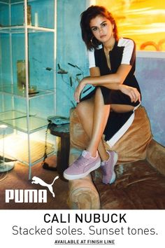 PRODUCT STORYA new evolution of the classic PUMA California, the Cali stands out with a thick platform and laid-back West Coast vibes. This version of the Cali as worn by Selena Gomez features a soft nubuck upper with patent details in dreamy . Selena Gomez, Puma Cali, Shoe Sites, Unisex Fashion, Women's Fashion, Fashion Clothes, How To Make Shoes, Sneakers Fashion, Women's Sneakers